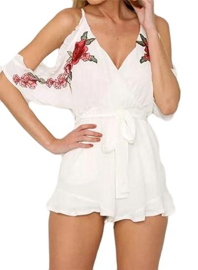 3644e2a00c Amazon.com  Papijam Womens Cold Shoulder V Neck Embroidery Chiffon Short  Jumpsuit  Clothing