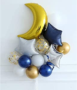 Moon and Star Balloons Bouquet Navy White Gold Balloons Twinkle Little Star Baby Shower Birthday Party Decoration