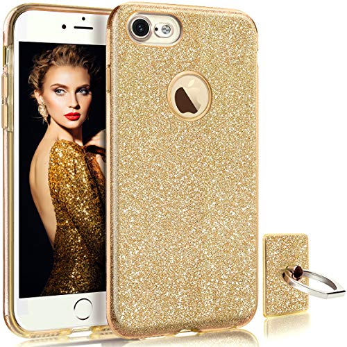 (HoneyAKE Case for iPhone 8 Case Ultra Thin Cover Cute Girly Glitter Bling Sparkle Shell Luxury Shining Fashion Style 3 Layer Slim Fit Protective Soft Phone Case for iPhone 8 4.7 inches, Gold)