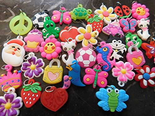 36-Piece Rubber Band Silicone Charms for WonderLoom and other Rubberband Looms and Jewelry kits