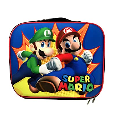 Super Mario Characters Mario and Luigi 3-D Molded Front Insulated Lunchbox Lunch Bag Tote for Back to School: Toys & Games