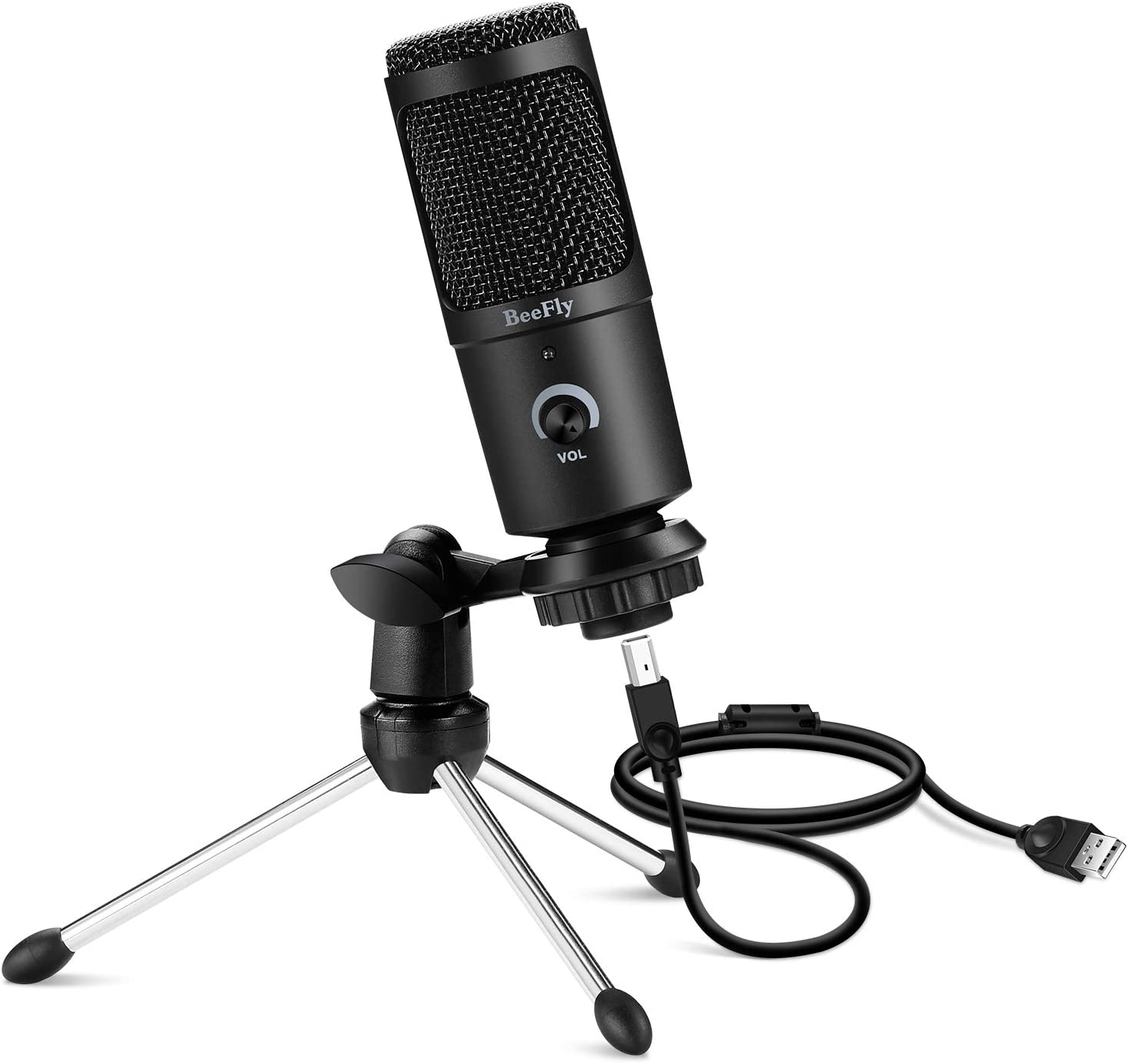 USB Microphone, BeeFly Metal Condenser Recording Microphone for PC Laptop Mac or Windows Desktop Computer Microphone Cardioid Studio Audio Mic for Gaming Streaming Podcast and YouTube Video