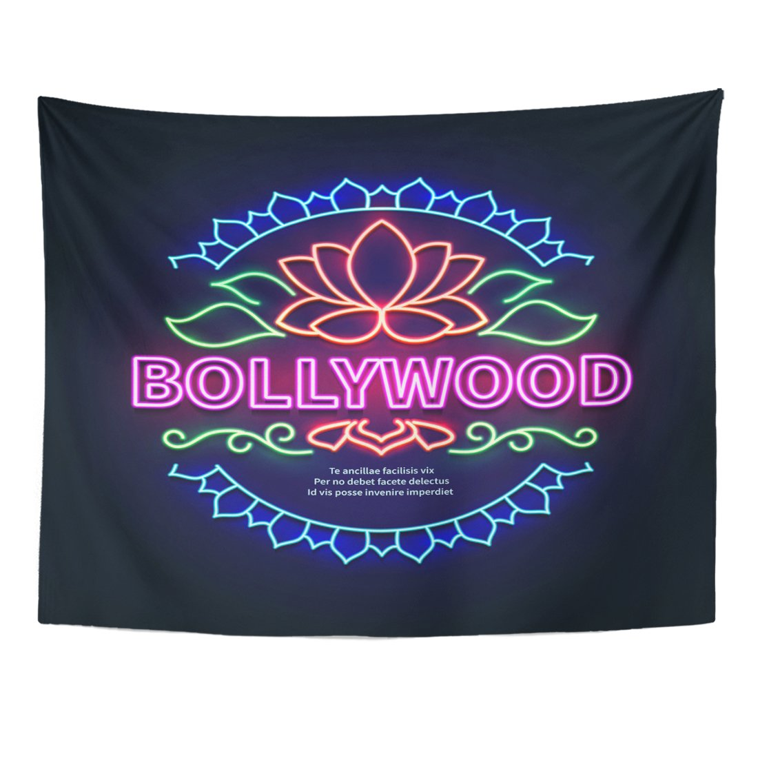 TOMPOP Tapestry Colorful Abstract Vintage Bollywood Movie Signboard Glowing Retro Indian Cinema Neon Sign of Billboard Home Decor Wall Hanging for Living Room Bedroom Dorm 60x80 Inches