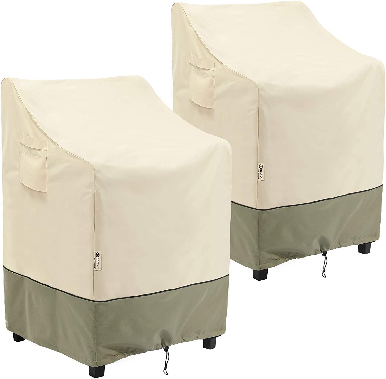 Outdoor Furniture Patio Stackable Chair Covers Waterproof Clearance, Lounge Deep Seat Cover, Lawn Furnitures Covers Fits up to 36W x 28D x 47H inches(2 Pack)