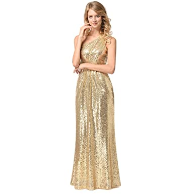 Womens Gold Sequin Beaded Gowns One Shoulder Slim Waist Long Dress Wedding Party Cocktail Evening Dresses