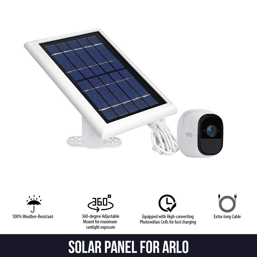 Solar Panel Compatible with Arlo Pro, Arlo Pro 2, Arlo GO & Arlo Light, Power Your Arlo Outdoor Camera continuously with Our New Solar Charging Device - by Wasserstein (White) by Wasserstein (Image #3)