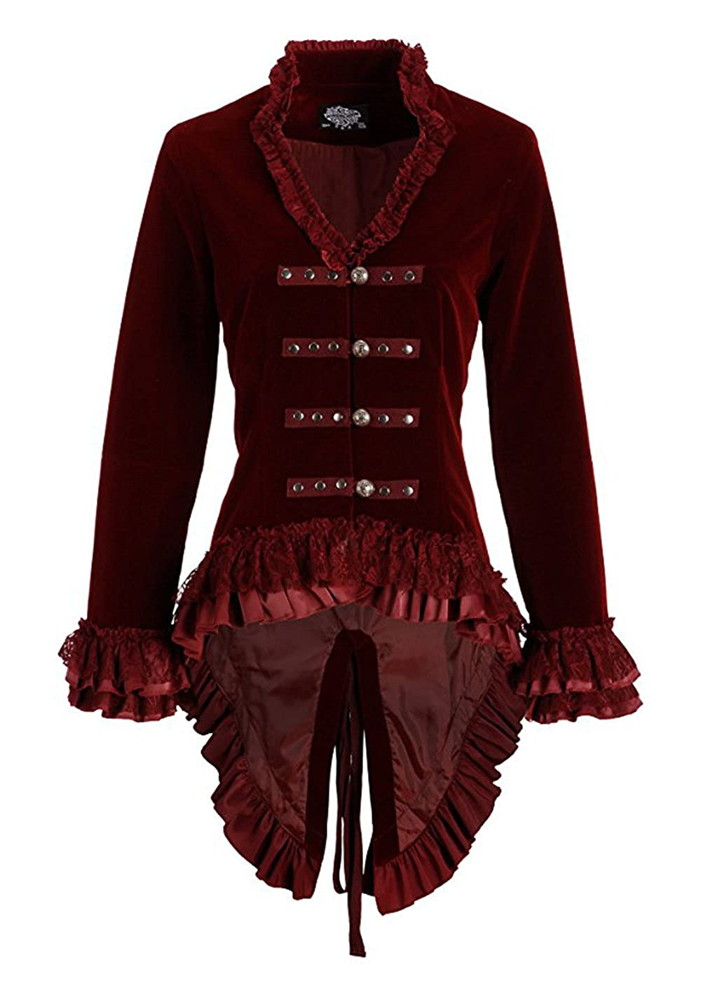 Pretty Attitude Womens Burgundy Velvet Victorian Steampunk Tail Jacket with Back Lacing