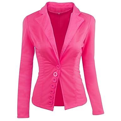 Yalatan - Chaqueta de traje - para mujer Rojo rosa M: Amazon.es ...