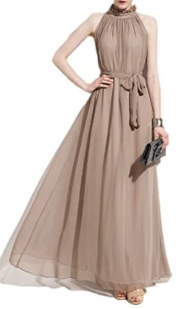 06dc39ed8959 VSVO Women Halter Neck Sleeveless Chiffon Maxi Dresses (One Size, Beige)
