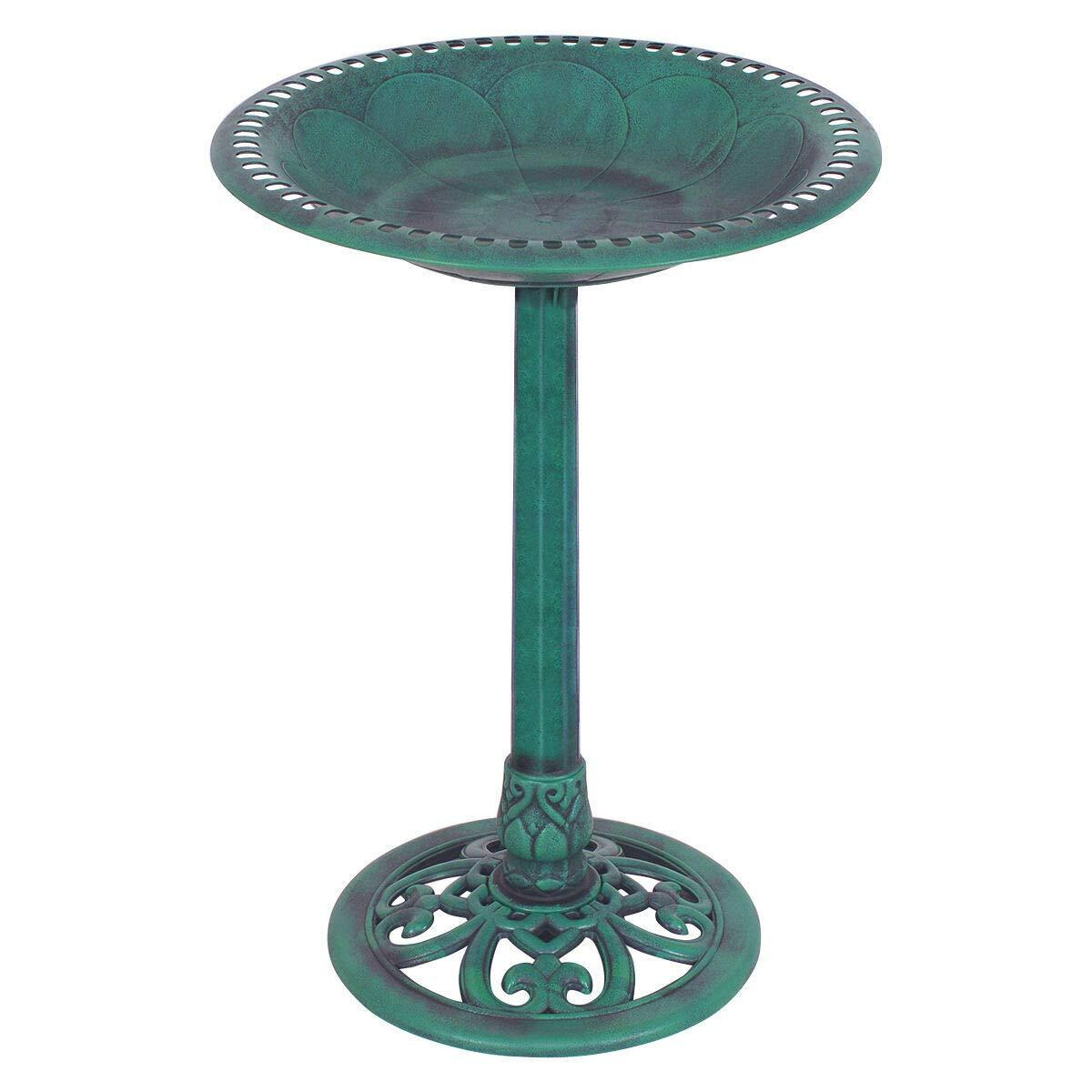 Cozinest Green Pedestal Bird Bath Feeder Freestanding Outdoor Garden Yard Patio Decor