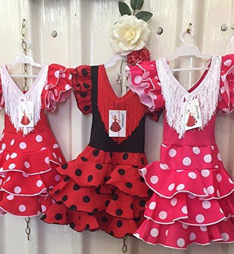 La Senorita Vestido Ropa Flamenco Niño Lujo Español Traje de Flamenca Chica/niños Rojo Blanco