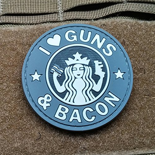 NEO Tactical Gear I Love Guns and Bacon Morale Patch PVC (Made With Love Patch)