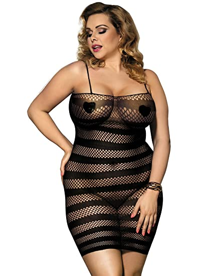Amazon.com  YouYayaZai Women s Plus-Size See Through Lace Sexy Lingerie  Bodystocking  Clothing 1defb0b89