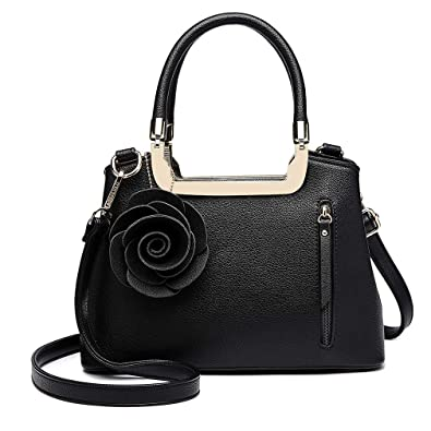 0355739908fe Miss Lulu Women Elegant Top Handle Bag Small Trend Shoulder Bag Pu Leather  Flower Charm Structured