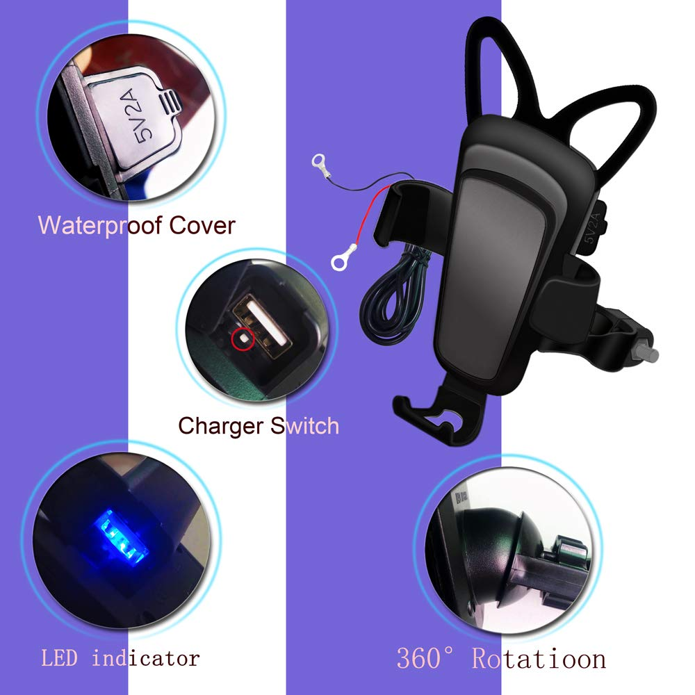 Motorcycle Phone Mount with Charger for bike Adjustable//360/° Rotation,Fits 3.0-6.4 inch phone motorcycle ATV Phone holder 5V USB Charger for phone mount motorcycle atv Rear-view Mirror installation