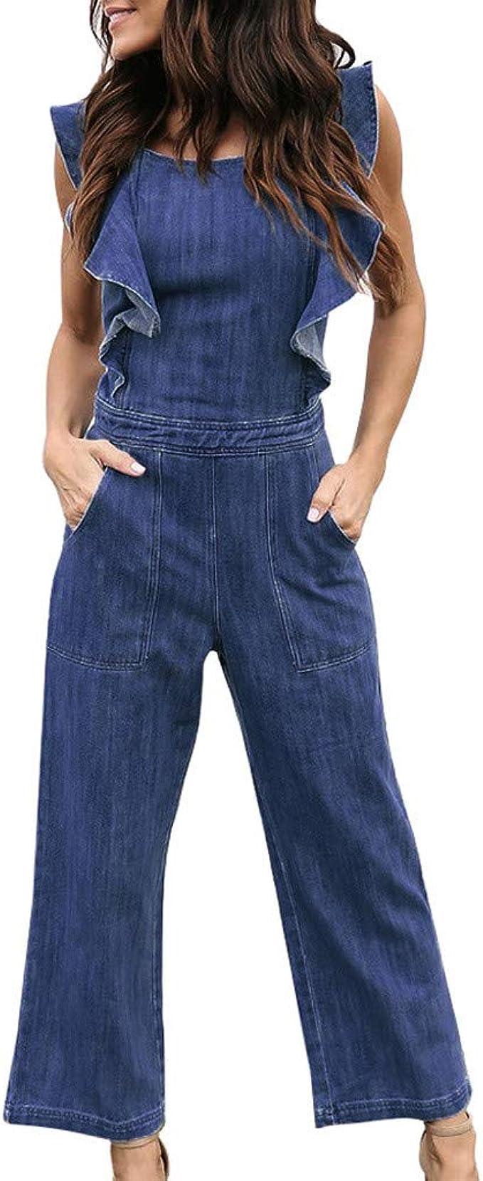 LHWY Jumpsuit Bodysuit Mono PetosModa para Mujer Denim ...