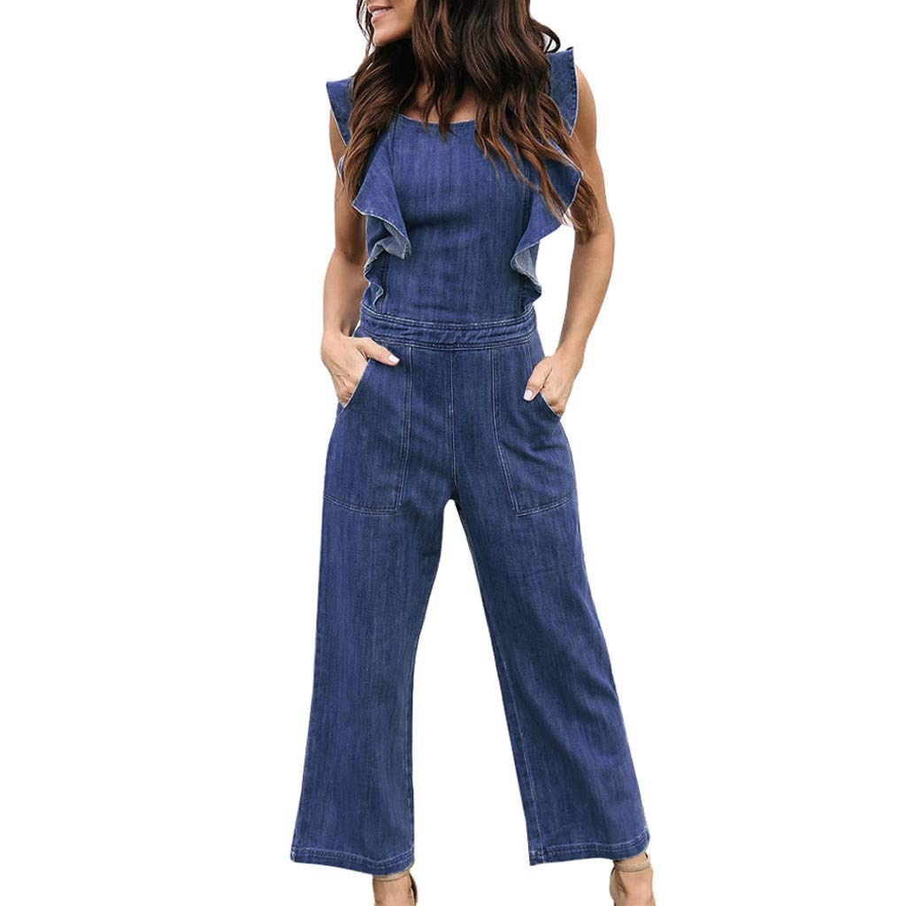 Corriee 2019 Most Wished Womens Jumpsuits Ruffles Sleeveless Denim Rompers Long Pants with Pockets Women Jean Jumpsuit Blue