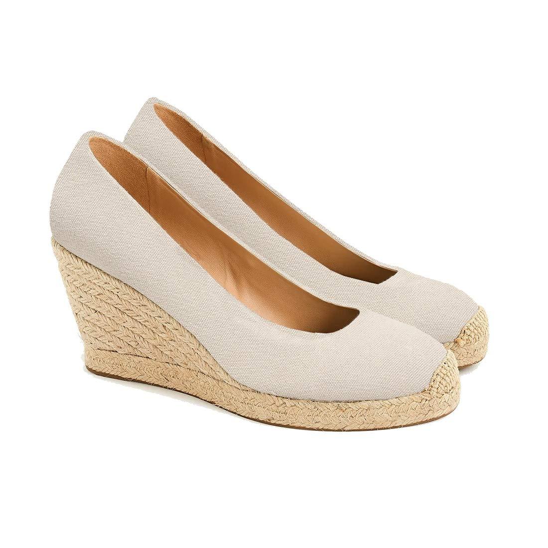a591b61a904 Amazon.com | Womens Closed Toe Espadrille Wedges Shoes Heels Pumps ...