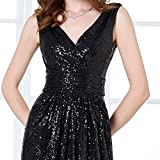Long V-neck Prom Dress Sequined Sparkling Evening Bridesmaid Dress , Black, 10