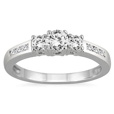30fe4e28054b2 Amazon.com: AGS Certified 1/2 Carat TW Diamond Three Stone Ring in ...