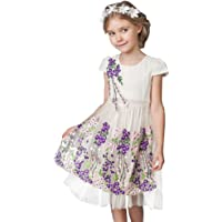 CNMUDONSI Little Girl Flower Party Princess Sleeveless Cotton Girl Dress