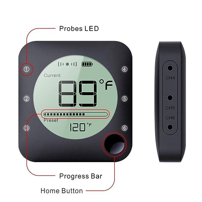 Amazon.com: Termómetro inalámbrico para barbacoa, termómetro ...