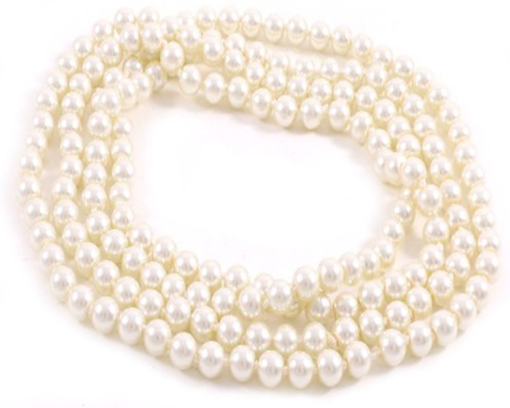 V G S Eternity Fashions Jewelry ~ Long Cream Imitation Pearls Necklace 29 inches Long