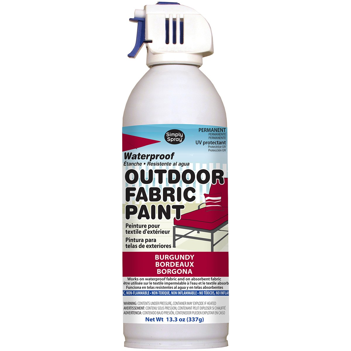 Deval Products OF0046007M Outdoor Spray Fabric Paint, 13.3 oz, Burgundy