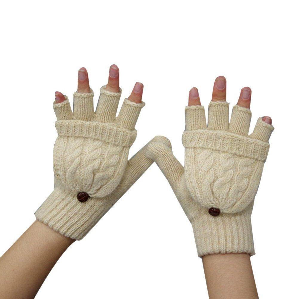 Guanti caldi invernali in maglia, da donna, guanti a mezze dita con cappuccio in maglia Beige Haifly