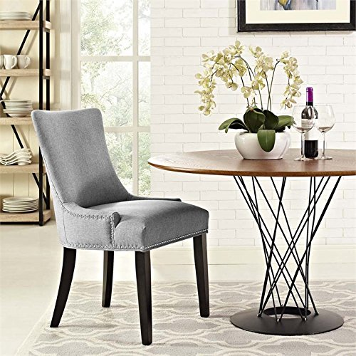 Modway Marquis Modern Elegant Upholstered Fabric Parsons Dining Side Chair With Nailhead Trim And Wood Legs In Light Gray by LexMod