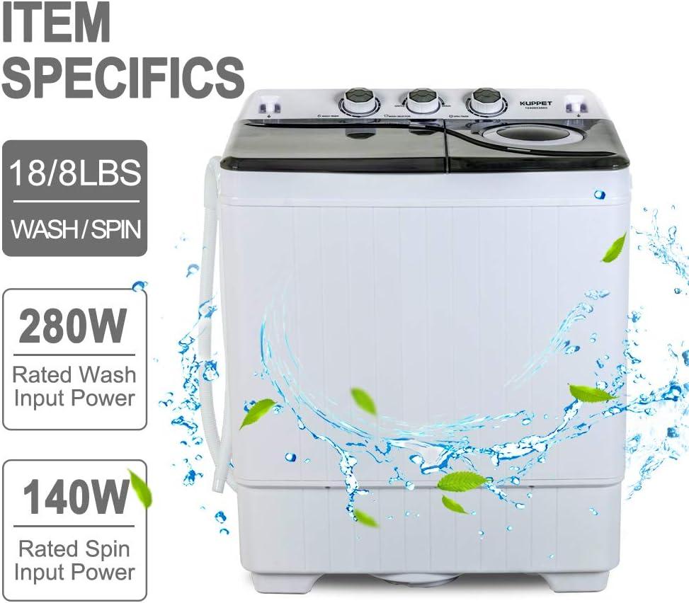 Amazon.com: Kuppet - Mini lavadora portátil de doble tina ...