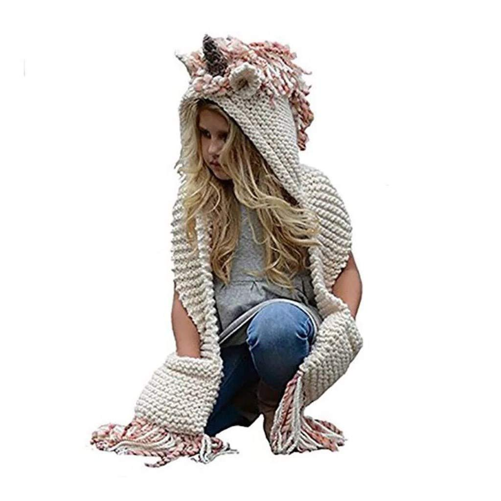 Azornic Kids Winter Unicorn Hats Knitted Earflap Pocket Hooded Scarves Ear Cap Beanie Cosplay Photography