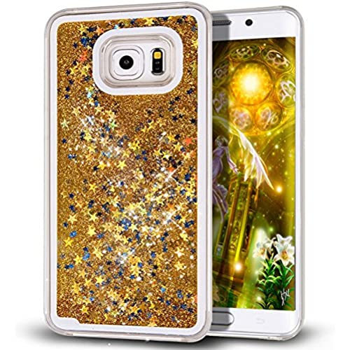 Galaxy S7 Edge Case,S7 Edge Case,NSSTAR Galaxy S7 Edge [Liquid Glitter] Case,Creative Design Flowing Liquid Floating Bling Glitter Sparkle Stars Clear Sales