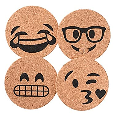 Corkologist Emoji Cork Coaster Printed, Set of 4 (Style 2)