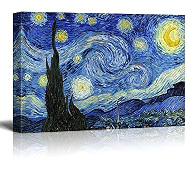 Wall26 - Starry Night by Vincent Van Gogh - Oil Painting Reproduction on Canvas Prints Wall Art, Ready to Hang - 24  x 36