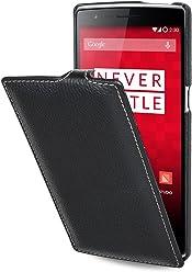StilGut® UltraSlim Case, custodia in vera pelle per OnePlus One, nero