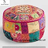 Indian Patchwork Pouf Cover Indian Living Room Home Decor Pouf, Decorative Ottoman, Hand Embroidered Designer Ottoman, Home Living Footstool Chair Cover, Bohemian Pouf Ottoman