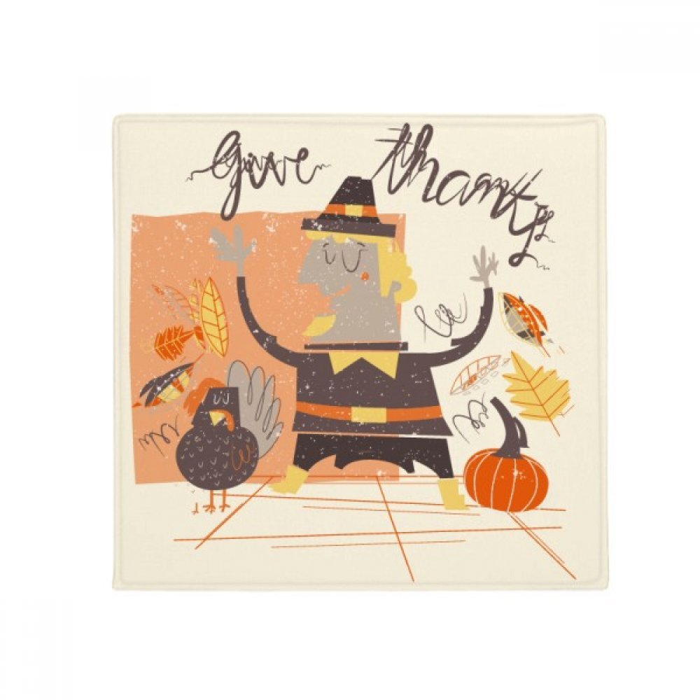 DIYthinker Thanksgiving Day Cartoon Man Pattern Anti-Slip Floor Pet Mat Square Home Kitchen Door 80Cm Gift