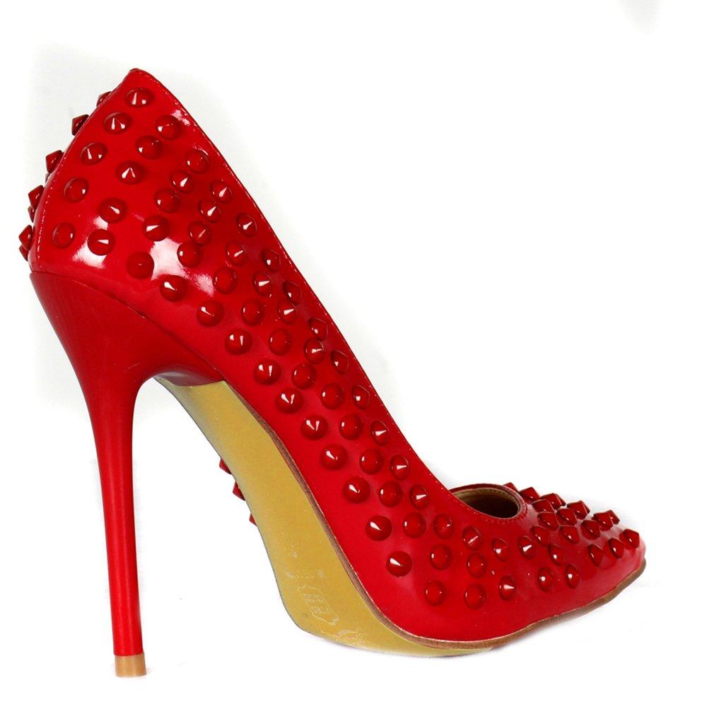 Lacitena Rot Glänzende Spitz-Toe Rivet Schuhe Sexy - Damenschuhe - Sexy 6c1c98