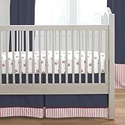 Carousel Designs Red and Navy Baseball 2-Piece Crib Bedding Set