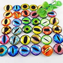 GraceAngie 25mm 20pcs Mixed Style Dragon Eyes Round time gem cover Glass Cabochon Dome Jewelry Finding Cameo Pendant Settings