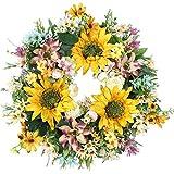 """Emlyn 18"""" Silk French Window Wreath French Sash Wreath for Spring Summer & Fall Wall Décor"""