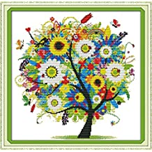 Benway Counted Cross Stitch Colorful Lucky Tree Flowers Tree 14 Count 15''x15''