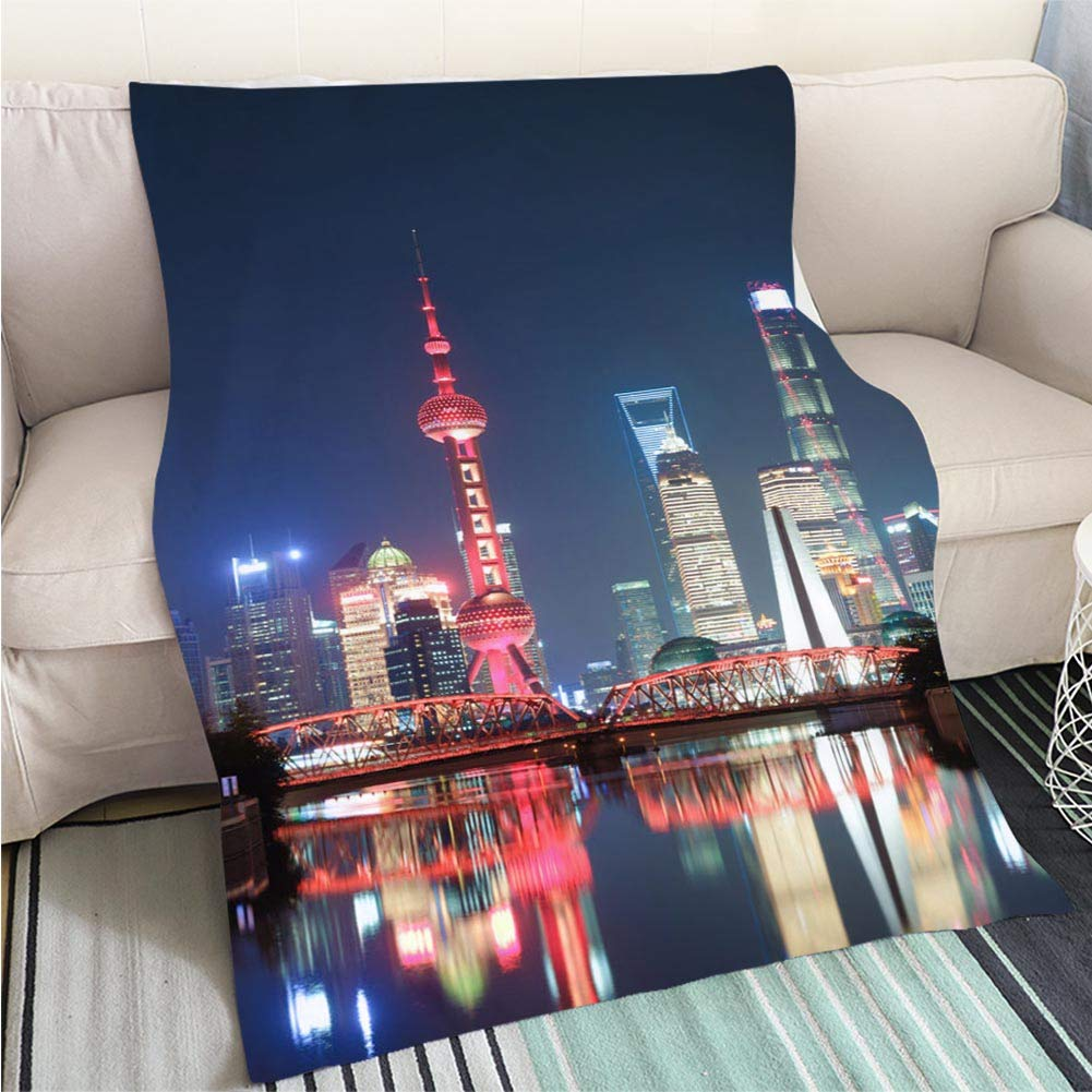 color9 47 x 59in BEICICI Comforter Multicolor Bed or Couch Night View of CBD of Shanghai Art Blanket as Bedspread gold White Bed or Couch