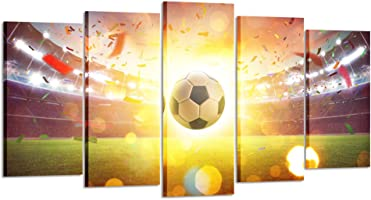 08291f9287 ... Kreative Arts - Large 5 Piece Canvas Prints Wall Art Soccer Ball at The  Football Stadium ...