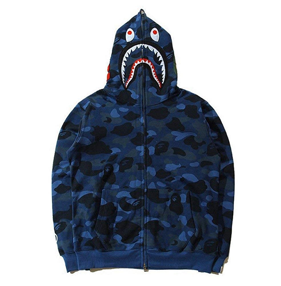 e8ecaa5e Bathing Ape Bape Shark Jaw Camo Full Zipper Hoodie Men's Sweats Coat Jacket  at Amazon Men's Clothing store: