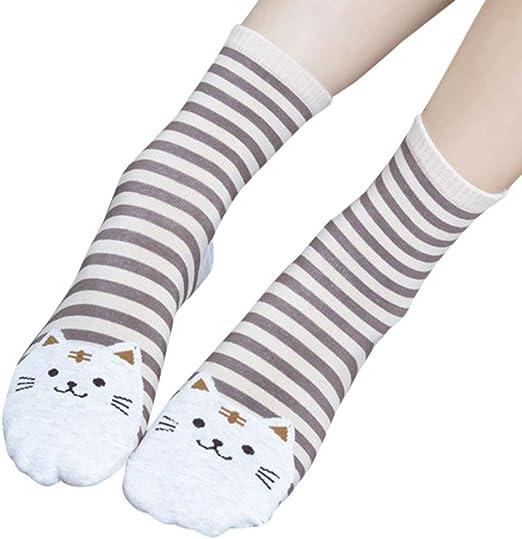3D Animals Striped Cartoon Winter Socks Women Cat Footprints Cotton Socks Floor
