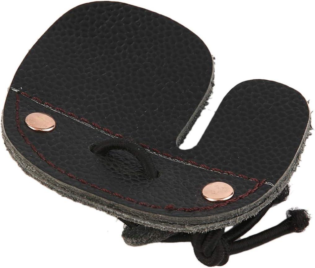 Rehomy Cuir de Vache Tir /à larc Doigt Protection Protection Pad Gant Onglet Arc Tir Noir