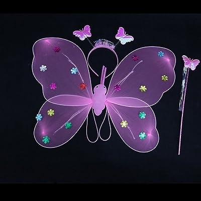 Newin Star Vestido de mariposa, luz de mariposa de ala de Ángel de LED brillent en la magia negra con el diadema y la baqueta de varita, disfraz de alas de hada para las niñas: Informática