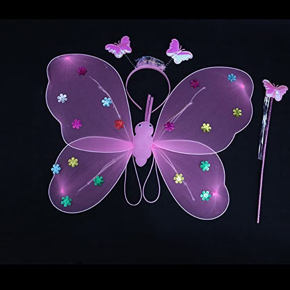 New Fashion Children Girls Princess Led Light Up Butterfly Magic Wand Sticks Flashing Glowing Sticks Party Cosplay Costume Props Halloween Novelty & Special Use
